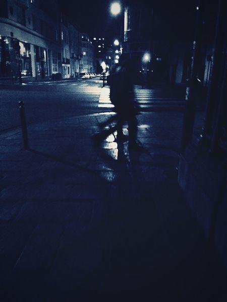 """ men's Blue night ""(2015) Men Blue Nightphotography Blackandwhite Reflection Bynight Monochrome Couple Night Lights"
