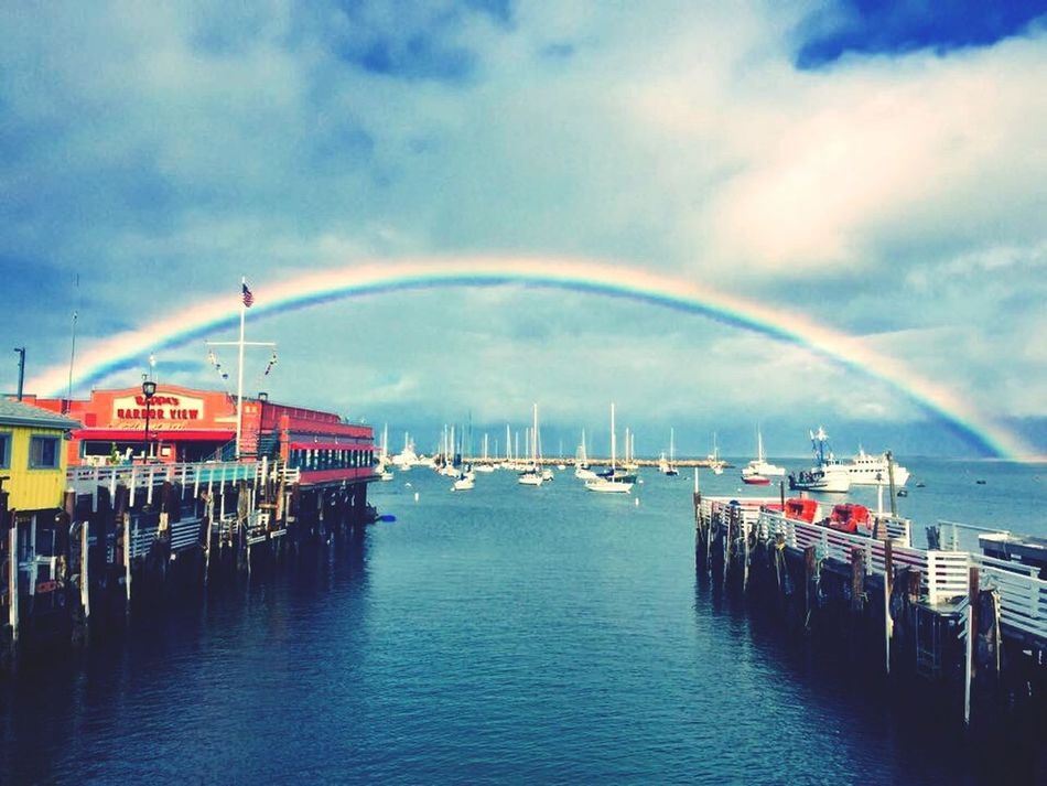 Monterey Monterey Bay Rainbow Ocean Beautiful Day IPhoneography Iphone6 Fisherman's Wharf Sea And Sky Clouds And Sky Boats WestCoast