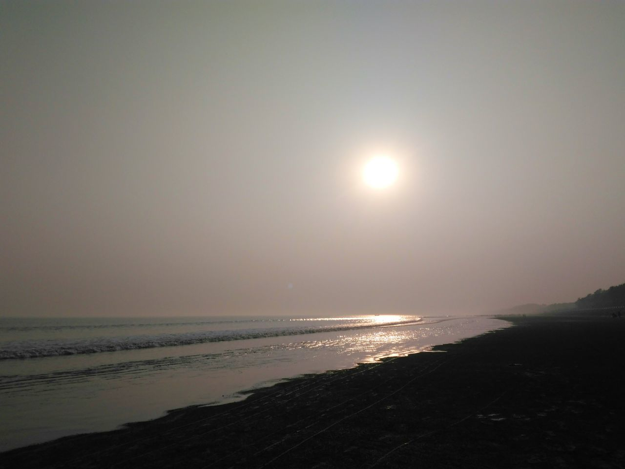 Sea Beach Night Sunset moonlight Horizon Over Water Scenics Nature Tranquility Moon Sand Outdoors No People Water Beauty In Nature Silver  Silver Thread Astronomy