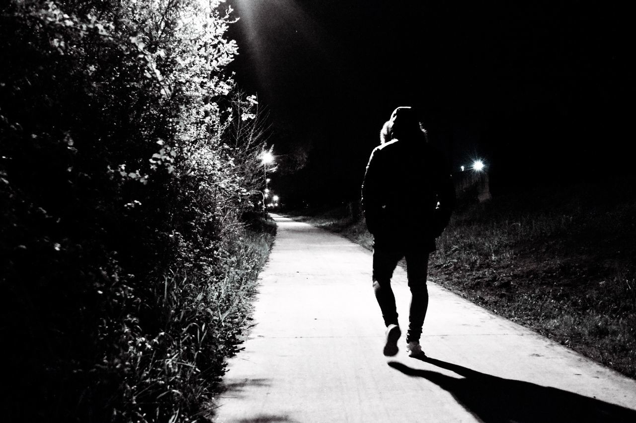 full length, walking, real people, the way forward, road, one person, nature, motion, outdoors, night, people