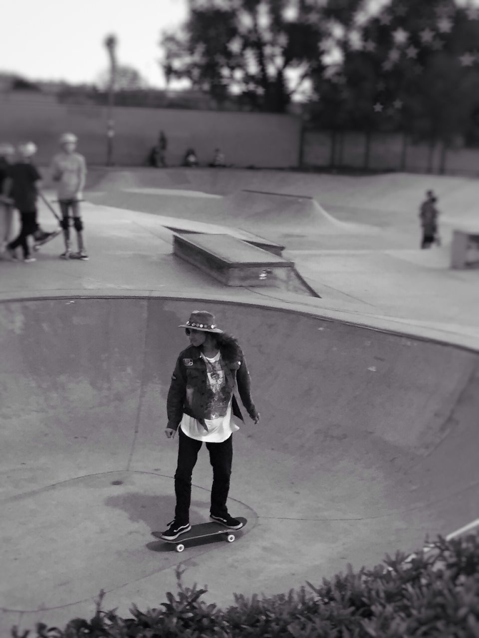full length, real people, road, outdoors, lifestyles, one person, sport, tree, day, skateboard park, people, adult