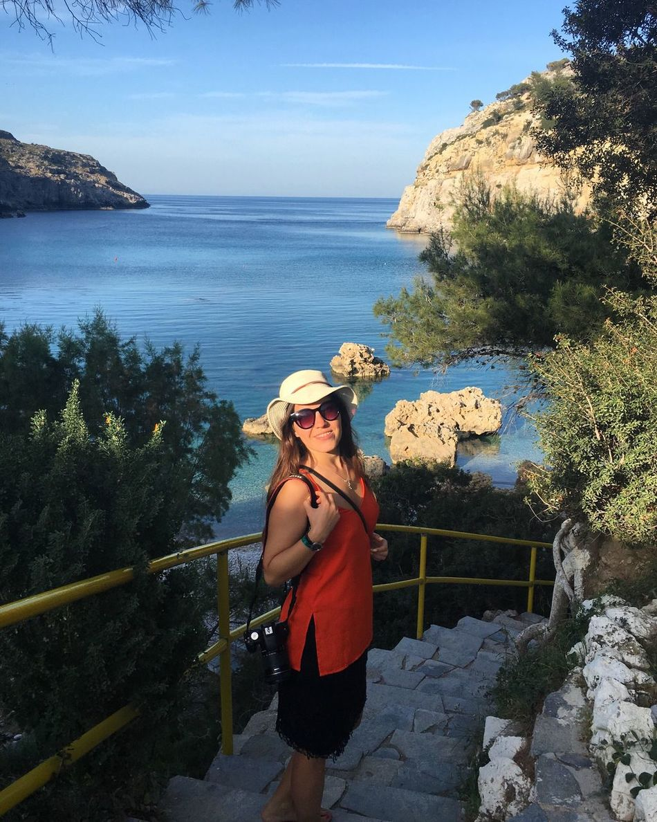 Greece Rhodes Antony Quinn Bay Travelling Smiling Sea Bay Young Women Sea View Traveling Travel Vacation