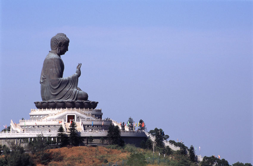 The Big Buddha, sat on the hill above Po Lin Monastery Budaha Buddha Building Exterior China Clear Sky Copy Space Day Famous Place Hill Hong Kong HongKong Lantau Island Outdoors Po Lin Monastery Religion Seated Statue Tian Tan Tourism Travel Travel Destinations Pmg_hok