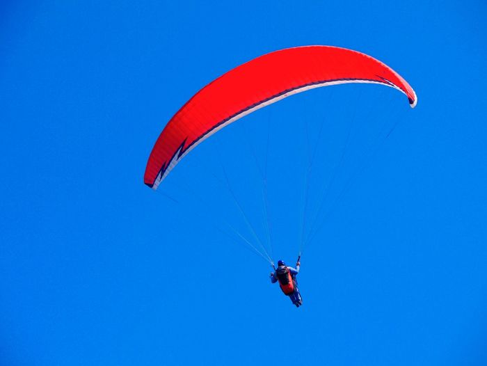 Adventure Blue Day Exhilaration Extreme Sports Flying Freedom Leisure Activity Lifestyles One Person Outdoors Parachute Paragliding Real People Red Skydiving