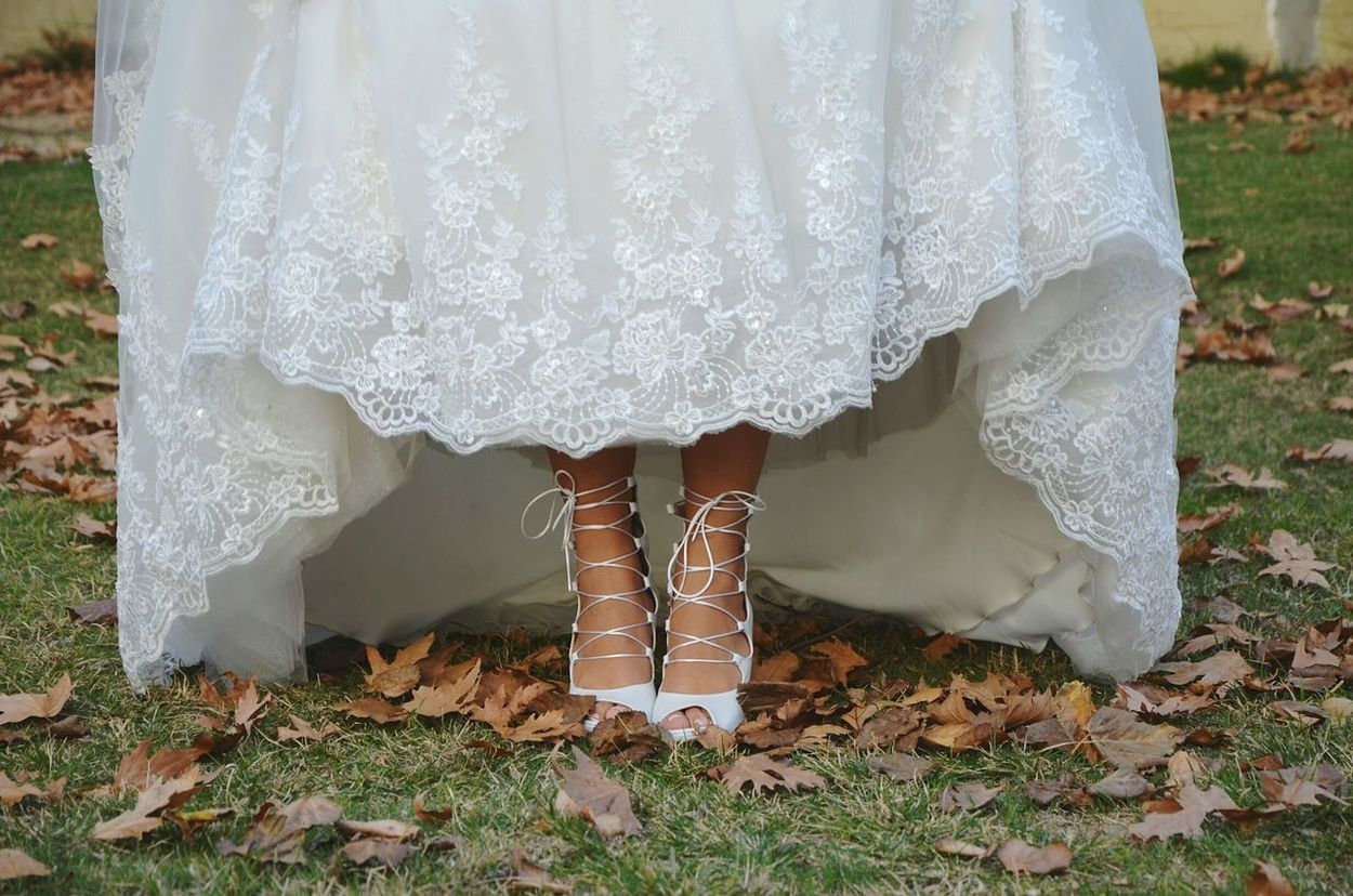 Low Section Human Body Part Standing Human Leg One Person Women One Woman Only Bride People Wedding Dress Wedding Close-up Leg Wedding Photography Wedding Day Autumn Wedding Shoe Shoes Shoelaces Laces Weddingshoes Wedding Shoes Feet Leaves
