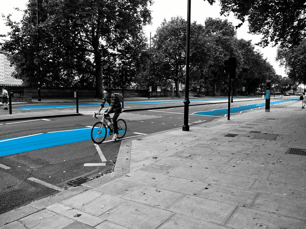 Cycling Cyclist Blue Lane Cycle Path Cycle Way Embankment Tate Modern London England Britain Urban Street Street Design Cycle Safety Safety Blue