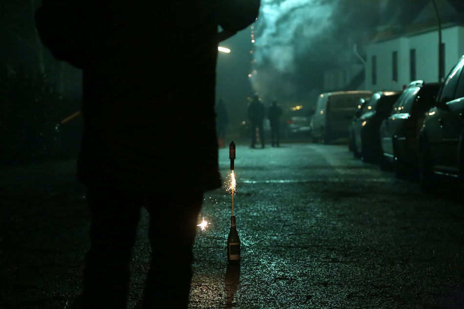 1701, Sylvester 2016 Adult Adults Only City Firework Fireworks Human Body Part Illuminated Men New Year New Year's Eve Fireworks Night Nightlife One Man Only One Person Only Men Outdoors People Real People Rear View Sylvester Adepted To The City Adapted To The City