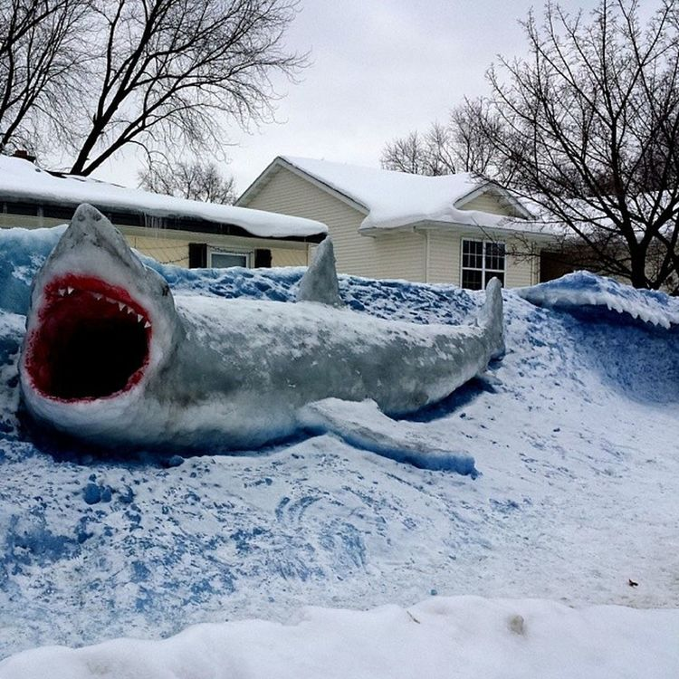 @clarklittle I don't know how you do it. This guy scared the crap out of me! Snowshark Snowart Michigan