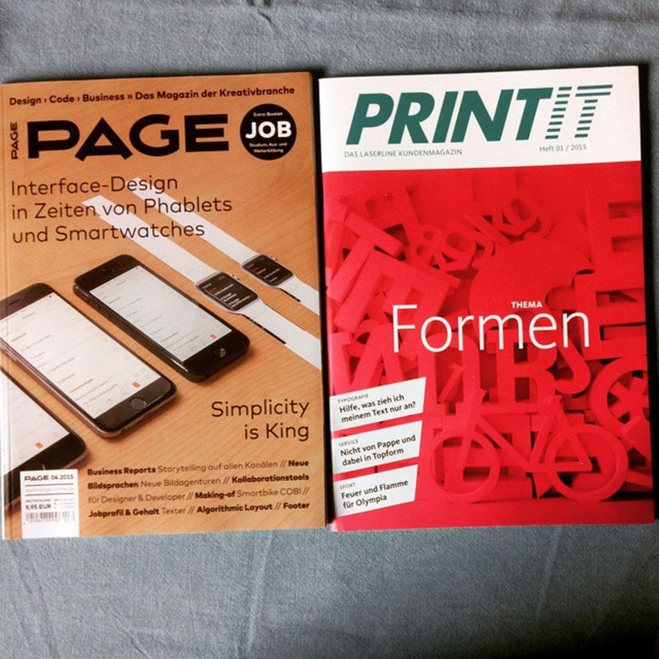 Page and PRINTIT two german Design Magazines for my personal inspiration.