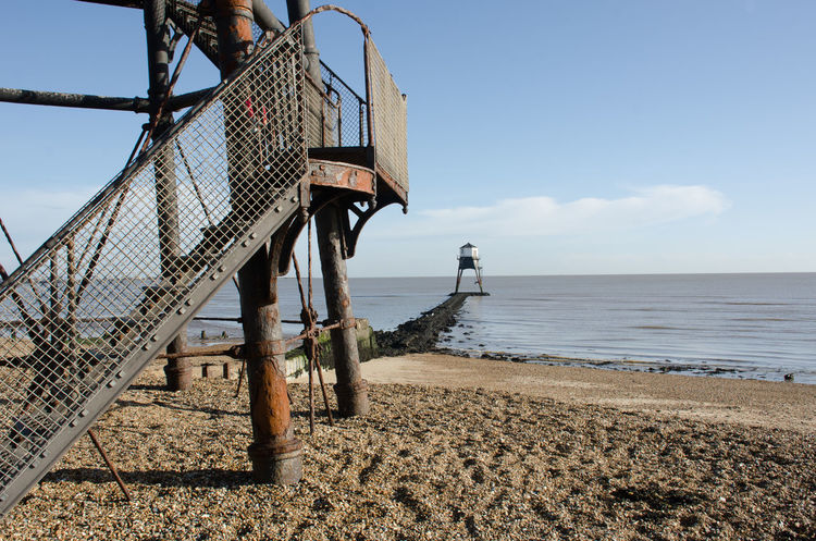 Dovercourt Low Lighthouse with Iron Structure in Foreground Architecture Clear Sky Essex Lighthouse Victorian Cast Iron Dovercourt Flat Landmark Old Sea Sky Warning