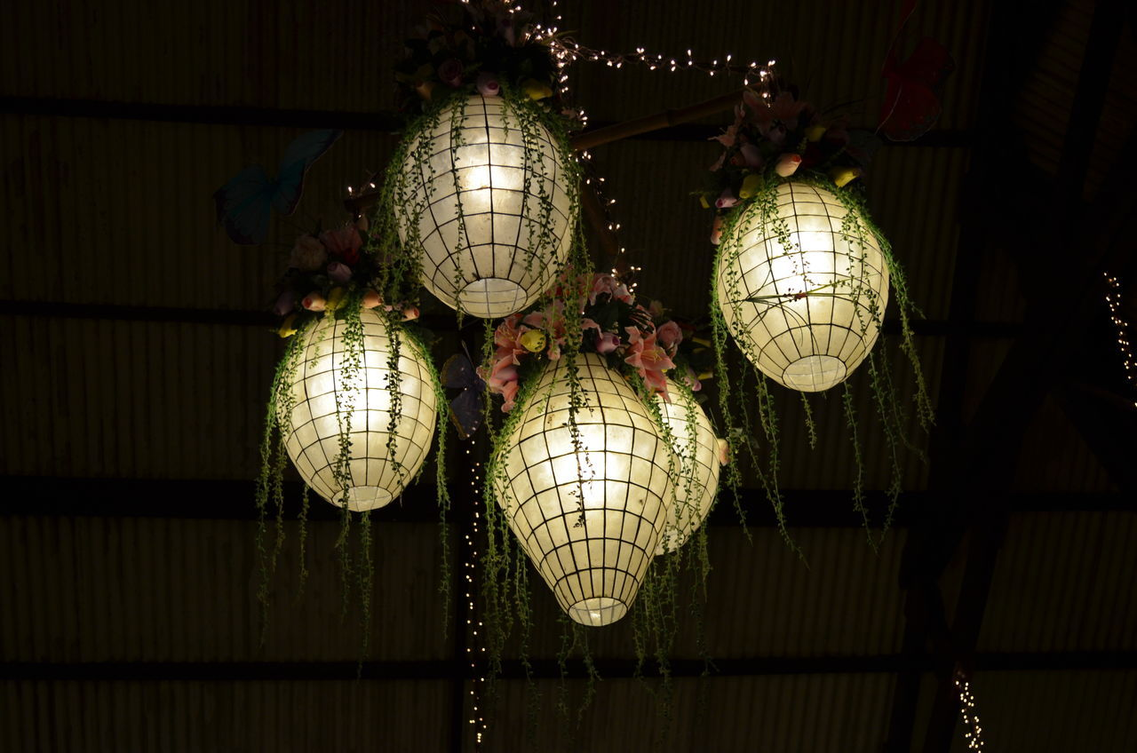 hanging, illuminated, lighting equipment, decoration, celebration, indoors, low angle view, chinese lantern, no people, lantern, night, electricity