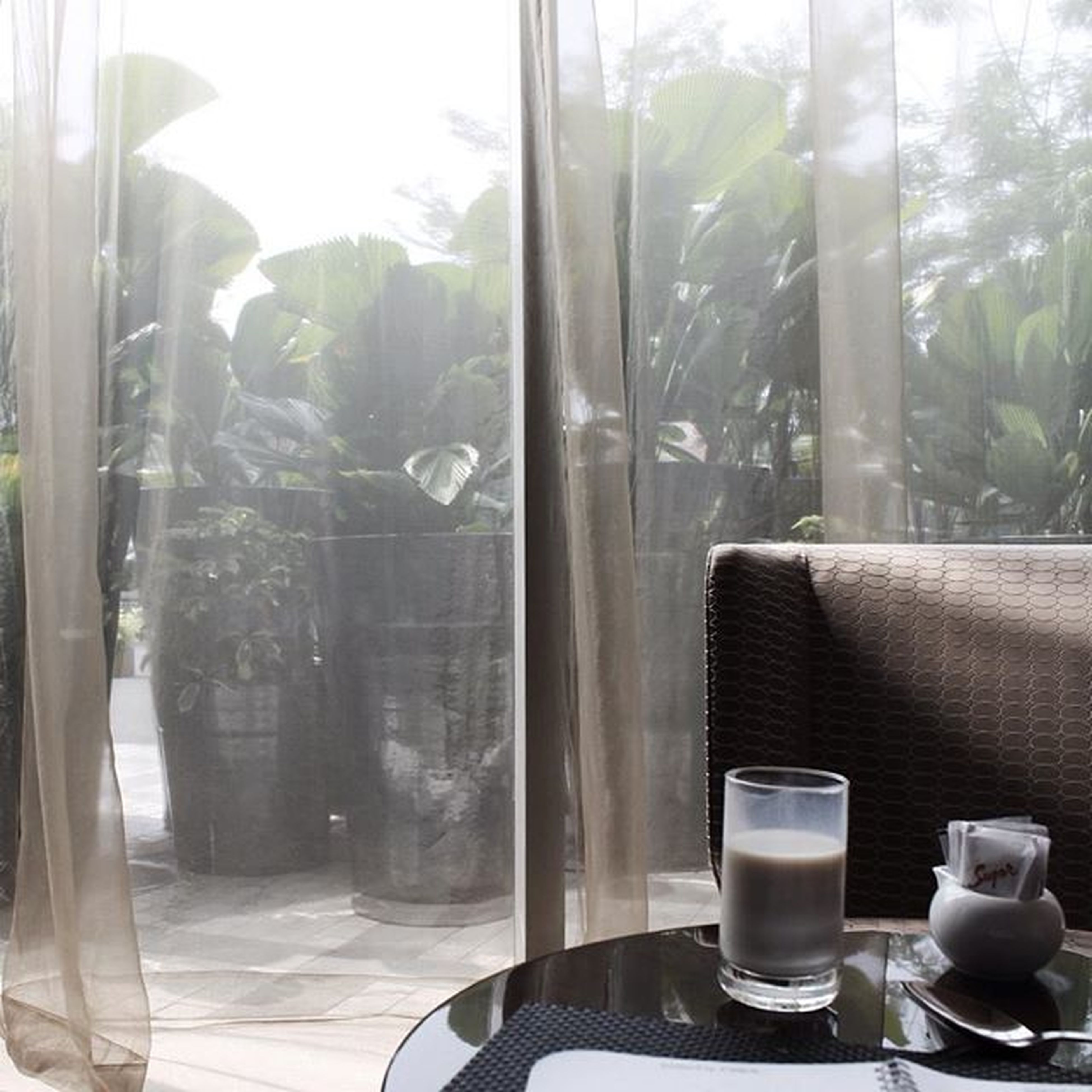 indoors, window, glass - material, transparent, table, curtain, glass, home interior, window sill, drinking glass, chair, drink, potted plant, absence, sunlight, day, empty, close-up, refreshment, reflection