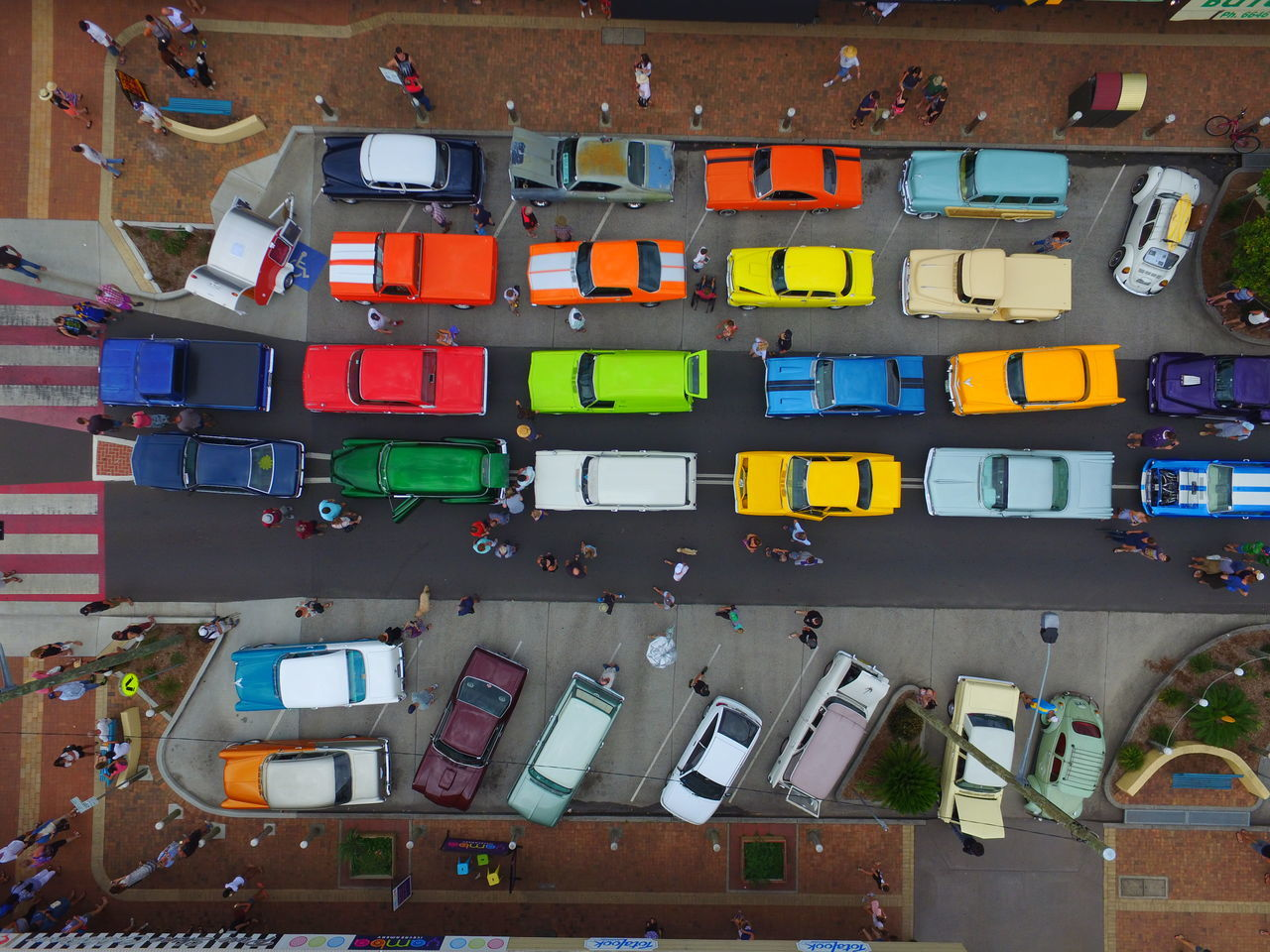 Old Timer Show, East Coast, Australia Aerial Shot Architecture Birds Eye View Building Exterior Business Finance And Industry Car CarShow City City Life Day Dji Drone  Droneshot EyeEm Best Shots High Angle View Multi Colored No People Old Car Oldtimer Rainbow Technology Urban Photography Urban Skyline Flying High Urbanphotography