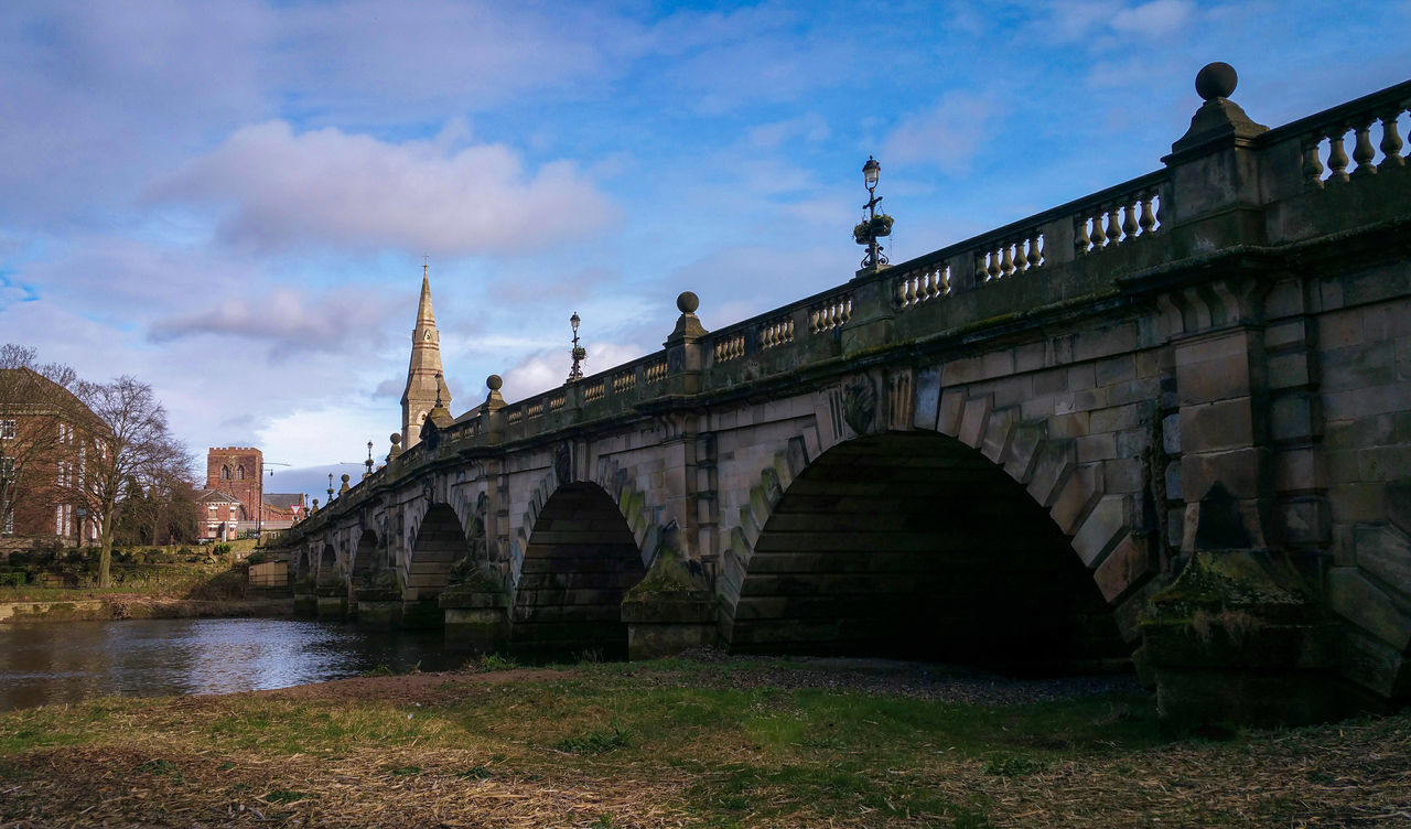 A Bridge in Shrewsbury Shropshire Bridge - Man Made Structure Connection City Vacations Cityscape Outdoors Sky No People Water Architecture Day Severn Hafren River Tower Tourism Travel Britain British Winter February Sunny