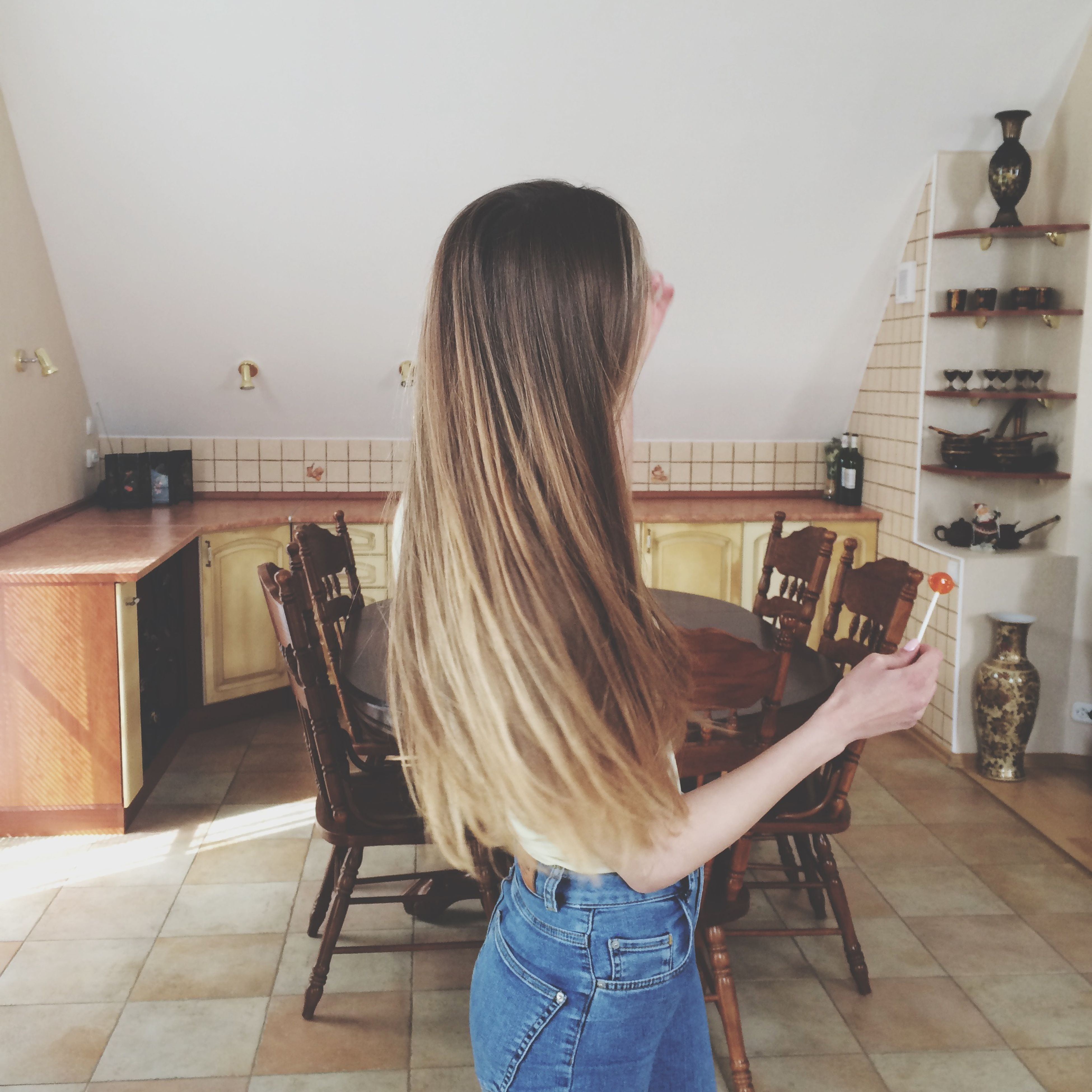lifestyles, indoors, leisure activity, long hair, casual clothing, young women, rear view, young adult, person, standing, architecture, full length, built structure, sitting, three quarter length, waist up, home interior, men