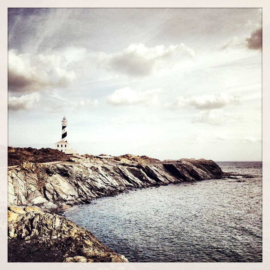 Lighthouse - Cap de Favaritx - Menorca Water Sea Lighthouse Menorca Cap De Favaritx Mediterranean  Cloud Blackandwhite Slate First Eyeem Photo