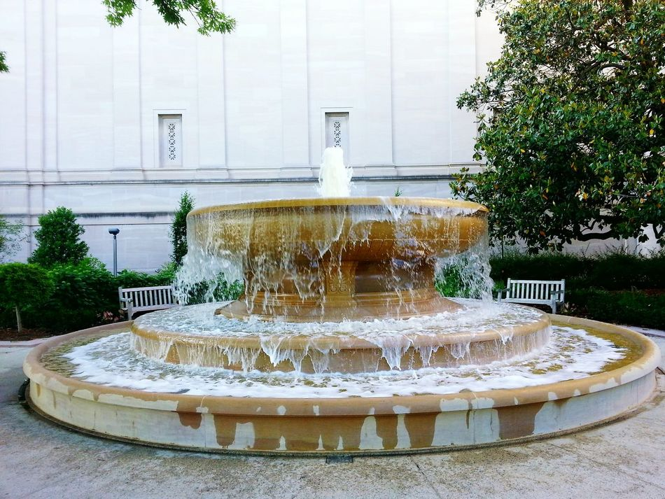 Overflowing. Fountain Motion Water No People Splashing Freshness Day Washington, D. C. National Gallery Of Art Adapted To The City