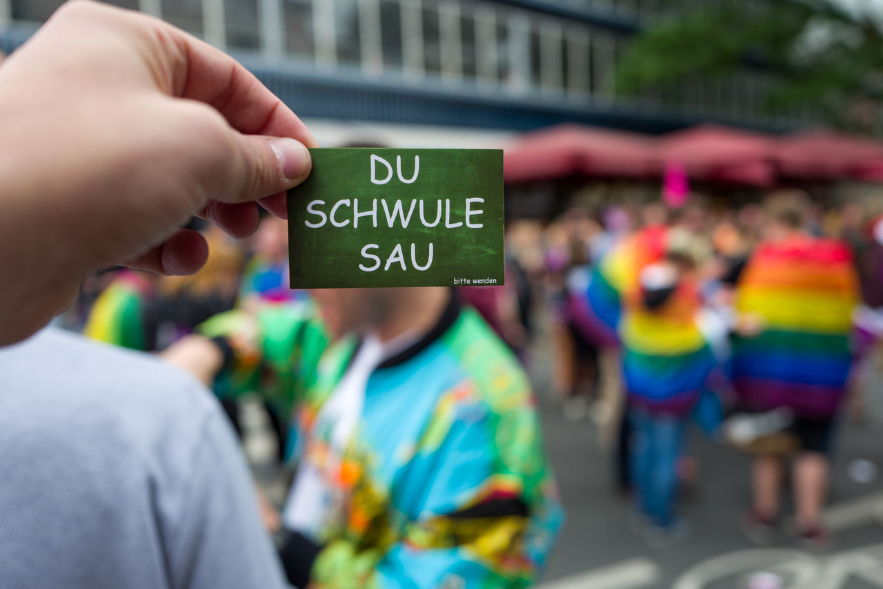 CSD Frankfurt 2017 Adult Celebration Close-up Communication CSD Day Focus On Foreground Human Hand Men Multi Colored Outdoors Participant People Real People Schwül  Text Togetherness Women