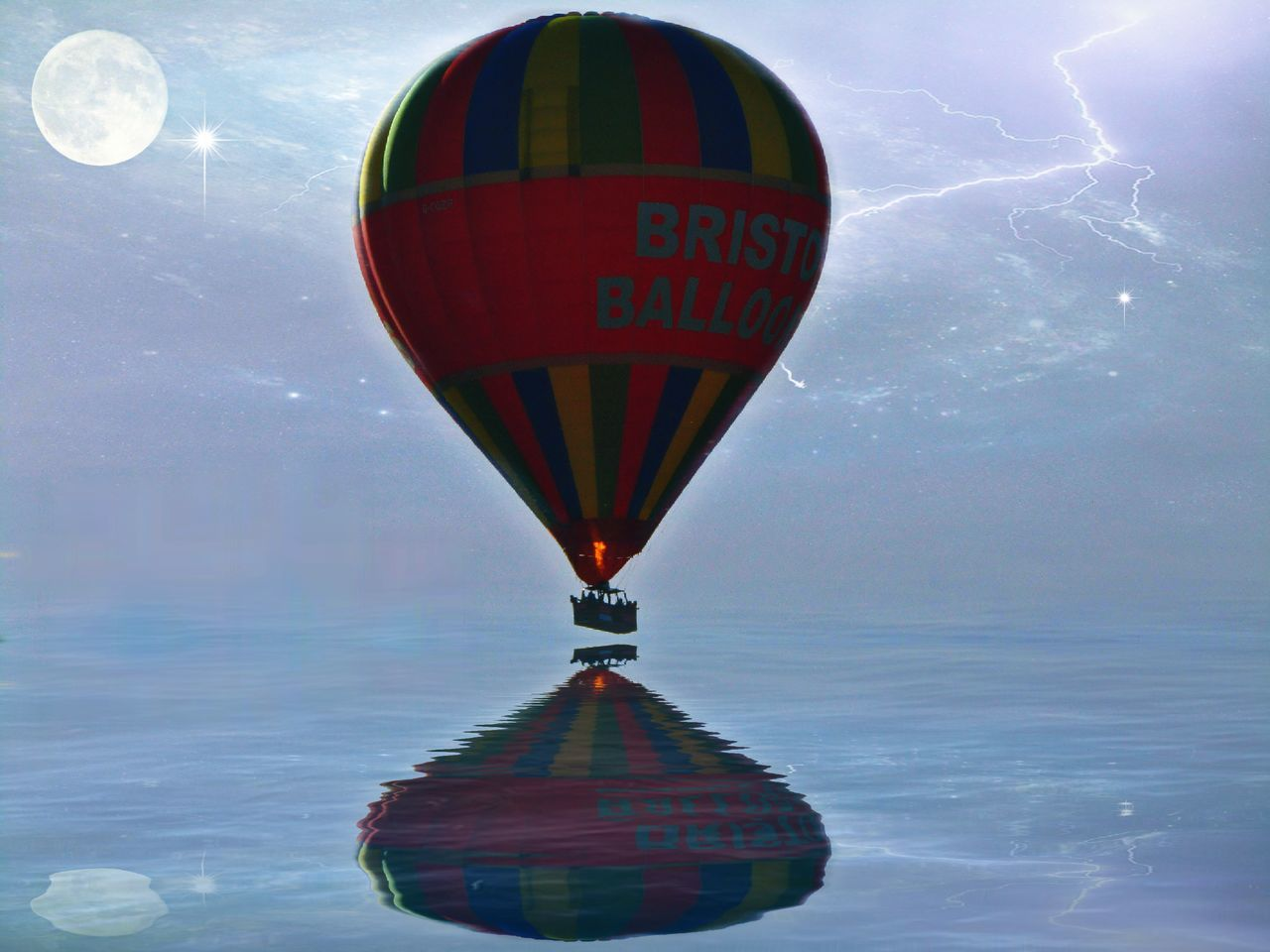Multi Colored Sky Hot Air Balloon Outdoors Night Air Vehicle Transportation Low Angle View Water Edit Edit Junkie