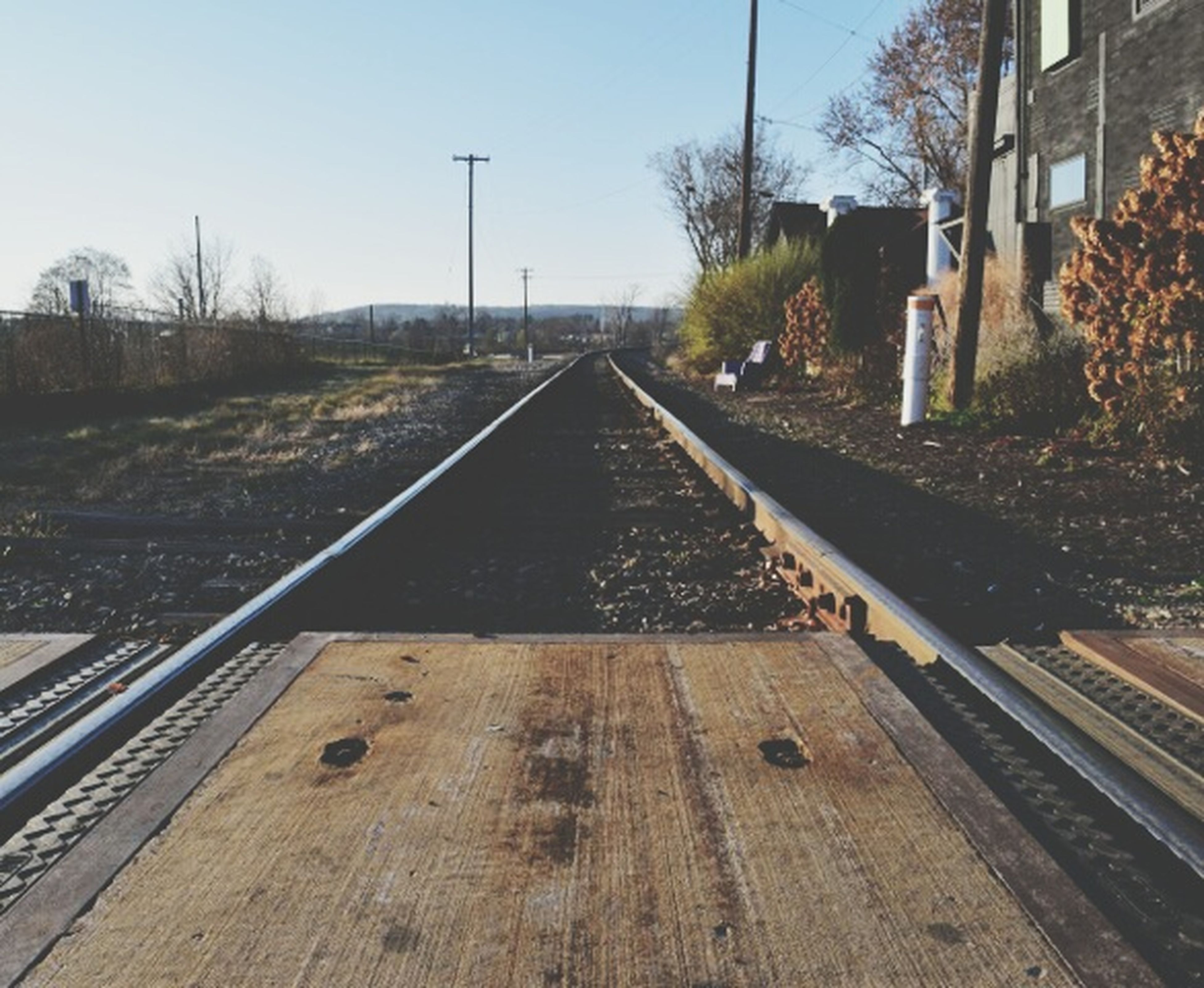railroad track, the way forward, tree, transportation, diminishing perspective, vanishing point, rail transportation, clear sky, built structure, sky, architecture, building exterior, day, outdoors, railway track, long, no people, surface level, straight, sunlight