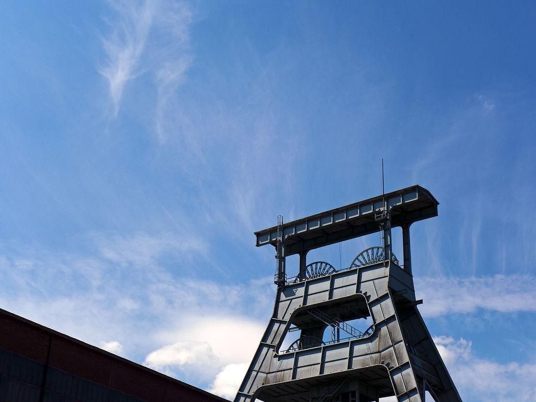 Coal Mine Industry Architecture Blue Sky Building Exterior Built Structure Cloud - Sky Coal Mining Coalmine Day Hoist Frame Low Angle View Mine Outdoors Sky Tower Winding Tower Zeche Zeche Ewald