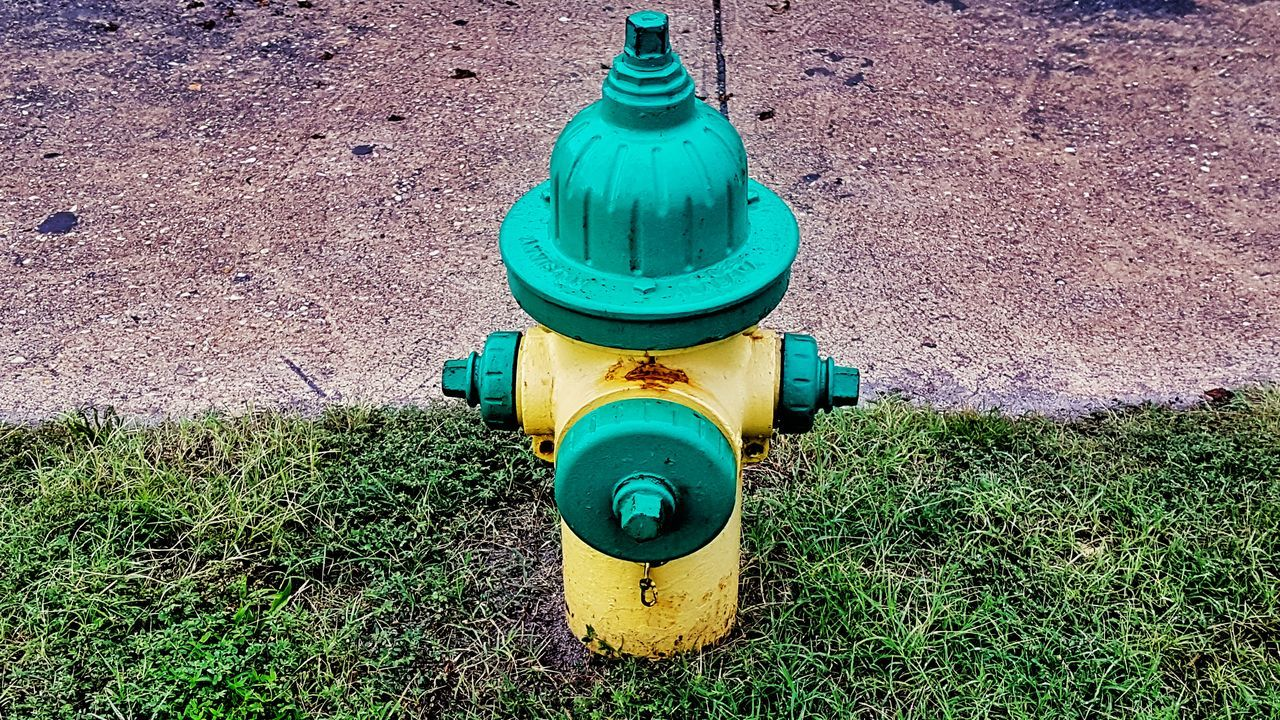 High Angle View Day Green Color Outdoors No People Close-up Fire Hydrant, Fire Hydrants, Fire Apparatus, Fire Fi Firehydrant Firehydrantporn Firehydrants Firefighter Fire Paint The Town Yellow