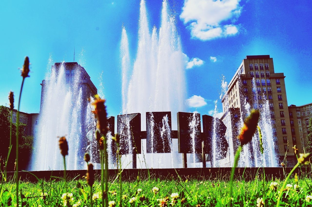 Fountain Against Blue Sky