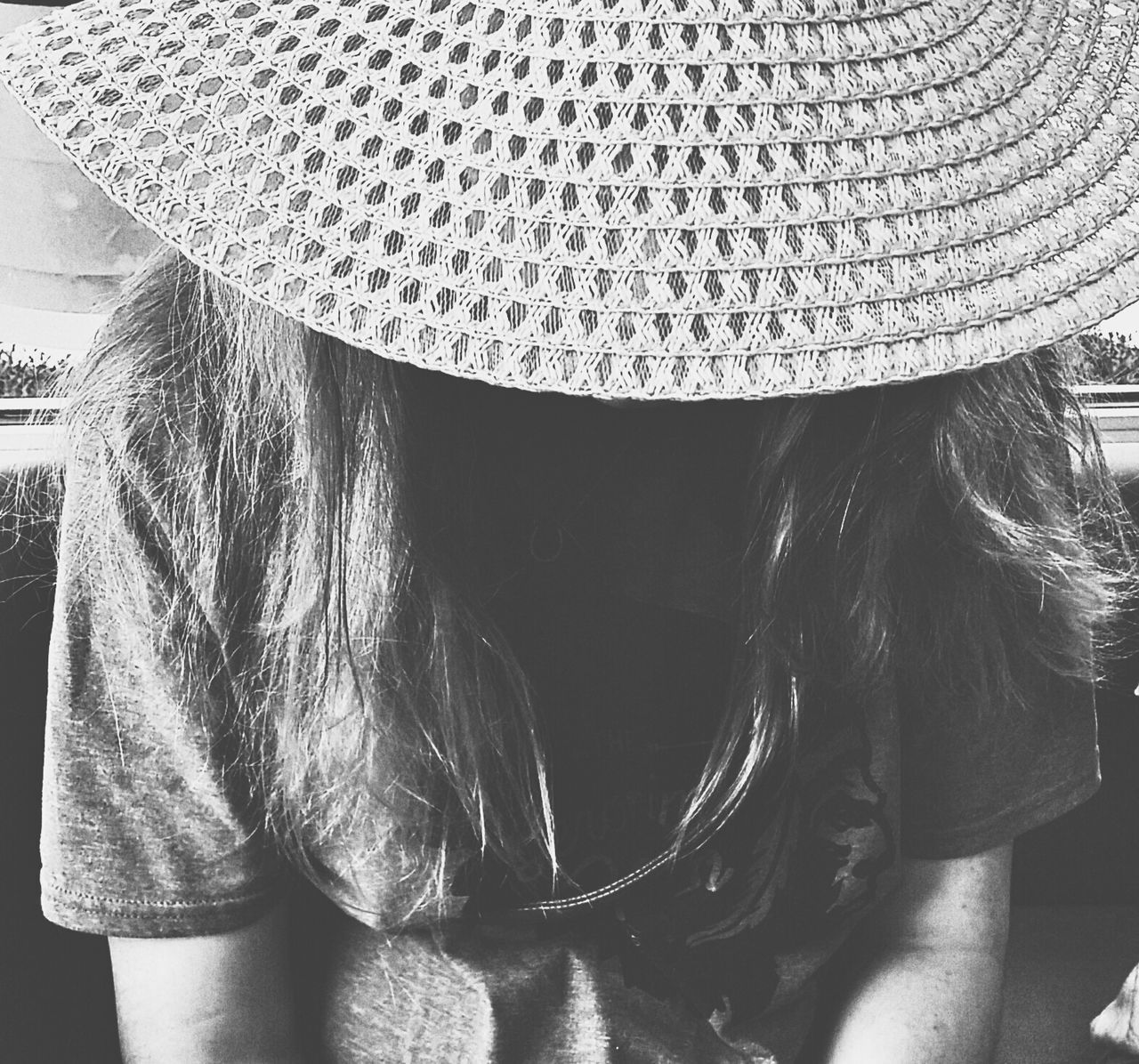 stake out Indoors  Close-up Lifestyles One Person Real People People Blackandwhite Bnw Girl VSCO Explore Looking Hat Fashion Photography Style Swag Hair Perspective Composition