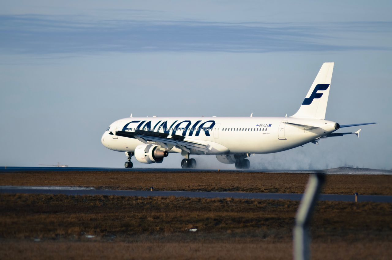 Finnair a321 touch downs at Helsinki Airport Airplane Transportation Airport Runway Airbus Finland Feelfinnair Finnair A321 Winter Vibes Positive Nikon Nikonphotography Mood Passion Passenger Spottaaja Spotted Spotting