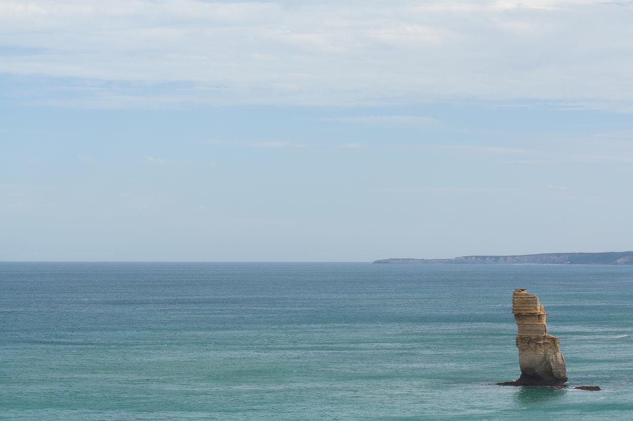 A lonely apostle; one of the Twelve Apostles off of Australia's Victorian coast Australia Blue Coast Coastline Rock Sea Seascape Stone Twelve Apostles Victoria Victorian Coast Water Waterfront