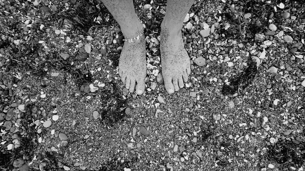 low section, human leg, standing, real people, high angle view, day, outdoors, human body part, one person, lifestyles, beach, men, sand, nature, one man only, close-up, people