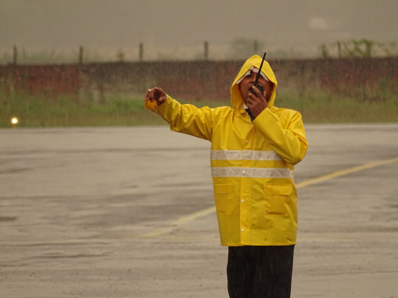 The Commander Take Off Work Working Airport Job People Rainy The Commander Walky Talky