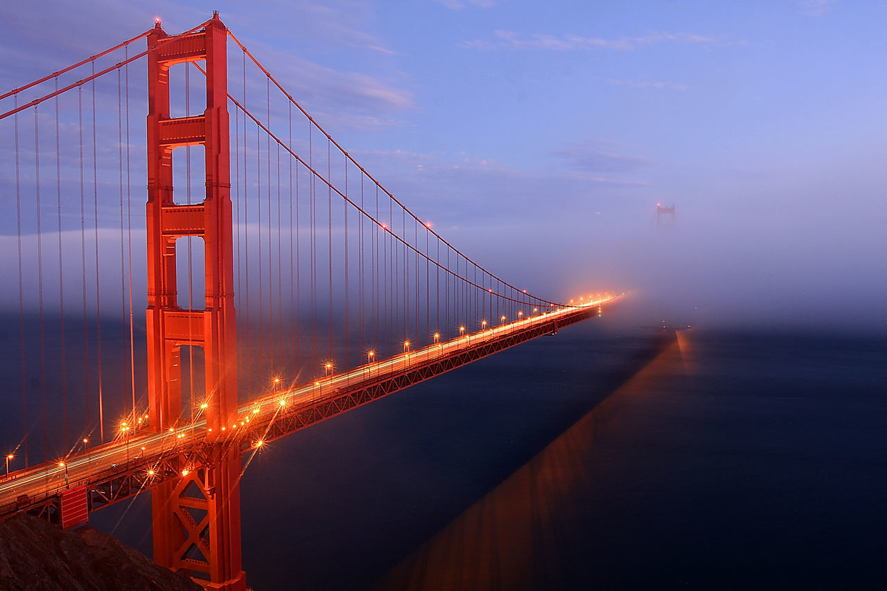 Golden Gate Bridge Sunset San Francisco California Water Reflections Light Streaks Learn & Shoot: Leading Lines Leading Lines Landscape Blue Hour Bkue Sky Horizontal Shining Seeing The Sights Landscapes With WhiteWall