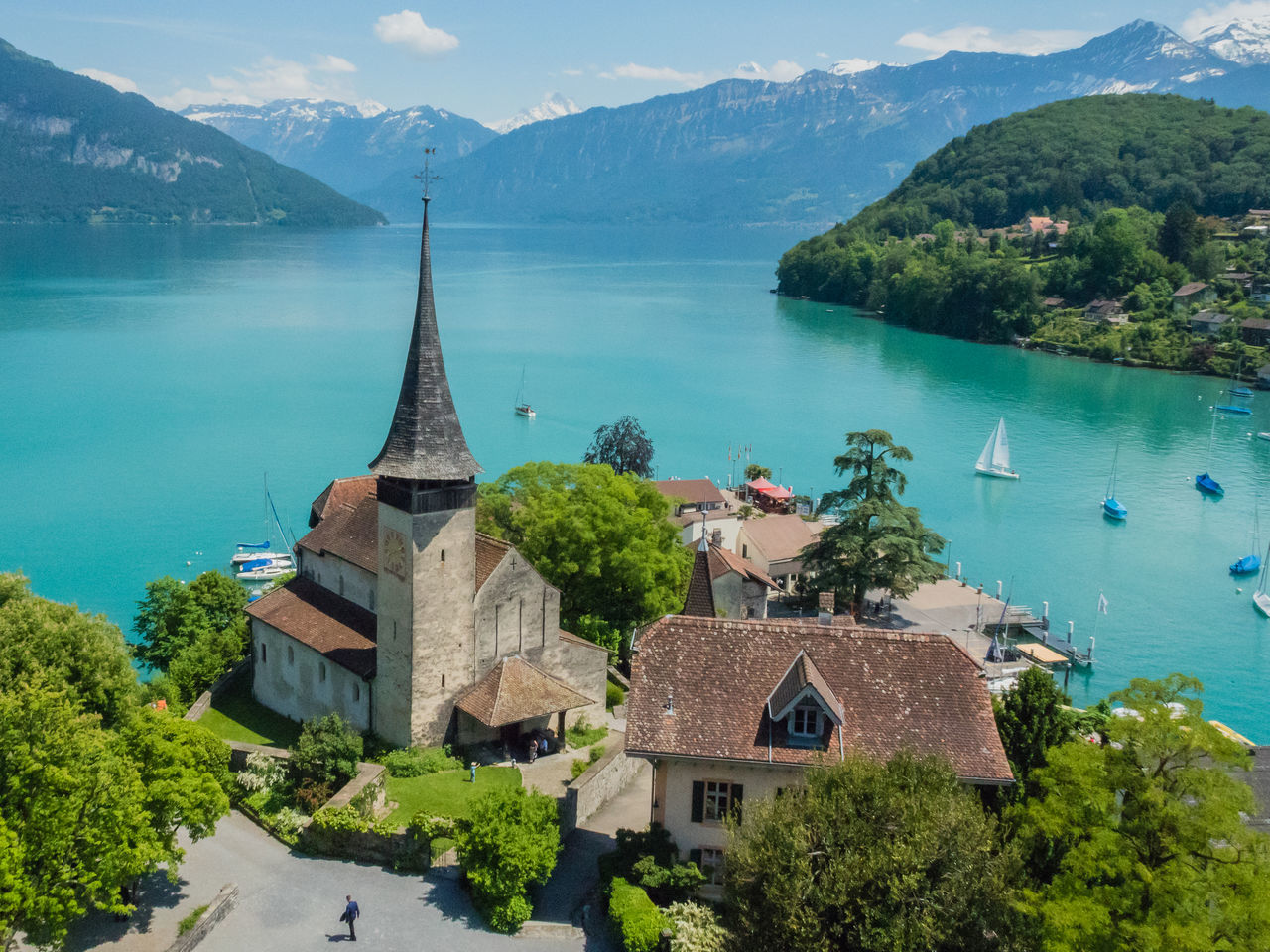 Spiez Castle Architecture Beauty In Nature Blue Built Structure Day Green Color Hill Idyllic Landscape Mountain Mountain Range Nature No People Non-urban Scene Outdoors Scenics Sky Spiez Castle Town TOWNSCAPE Tranquil Scene Tranquility Travel Destinations Tree Water