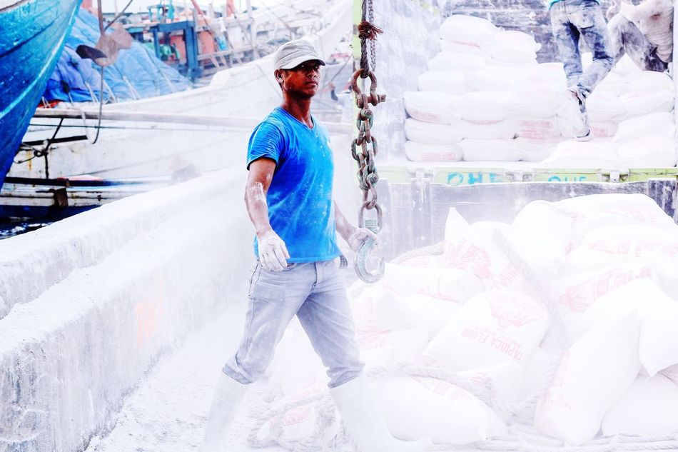 People Men Outdoors Standing Headwear Full Length Day Flour Truck Port Life Worker Labour Life Stack Job Occupation