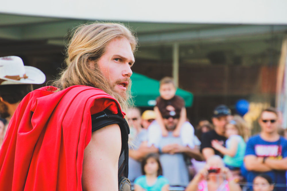 Arts Culture And Entertainment Blond Hair Cosplay Cosplayer Day Focus On Foreground Leisure Activity Lifestyles Marvel Marvellegends One Person Outdoors Pop Culture Red Street Parade Street Photography Supanova Superhero Superheroes Thor  Thor The Dark World Young Adult