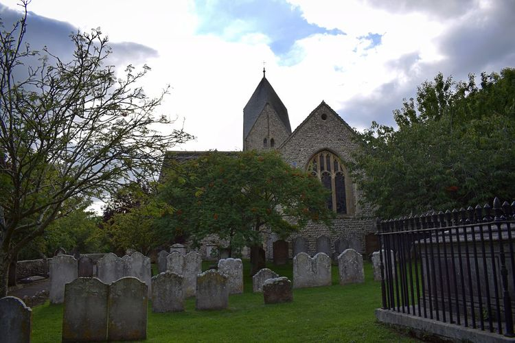 St Mary's Church Cemetery History Outdoors Day Sky Grass Tombstone Lancing  Countryside South Downs National Park Nature Grass Chapel Bush Scenics Low Angle View Architecture Church St Marys Church Graveyard Headstones Cemetery Religion Spire