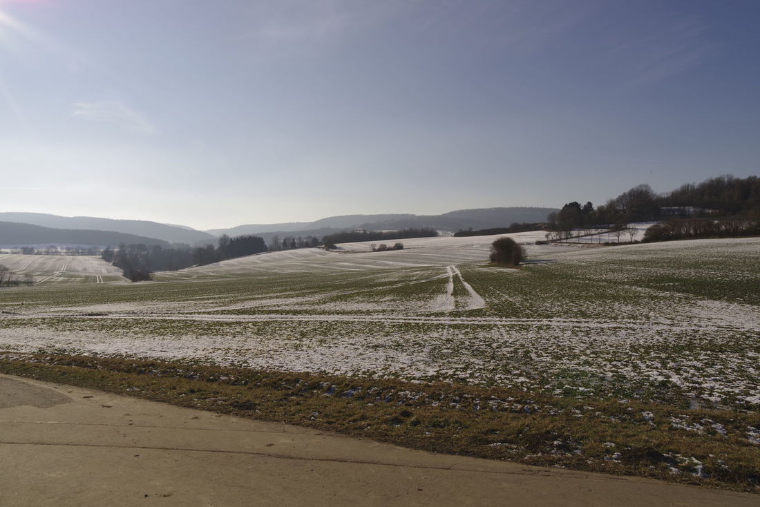 Landscape with rests of snow Agriculture Cold Temeperat Field Hi Landscape Nature No People Outdoors Snow Winter