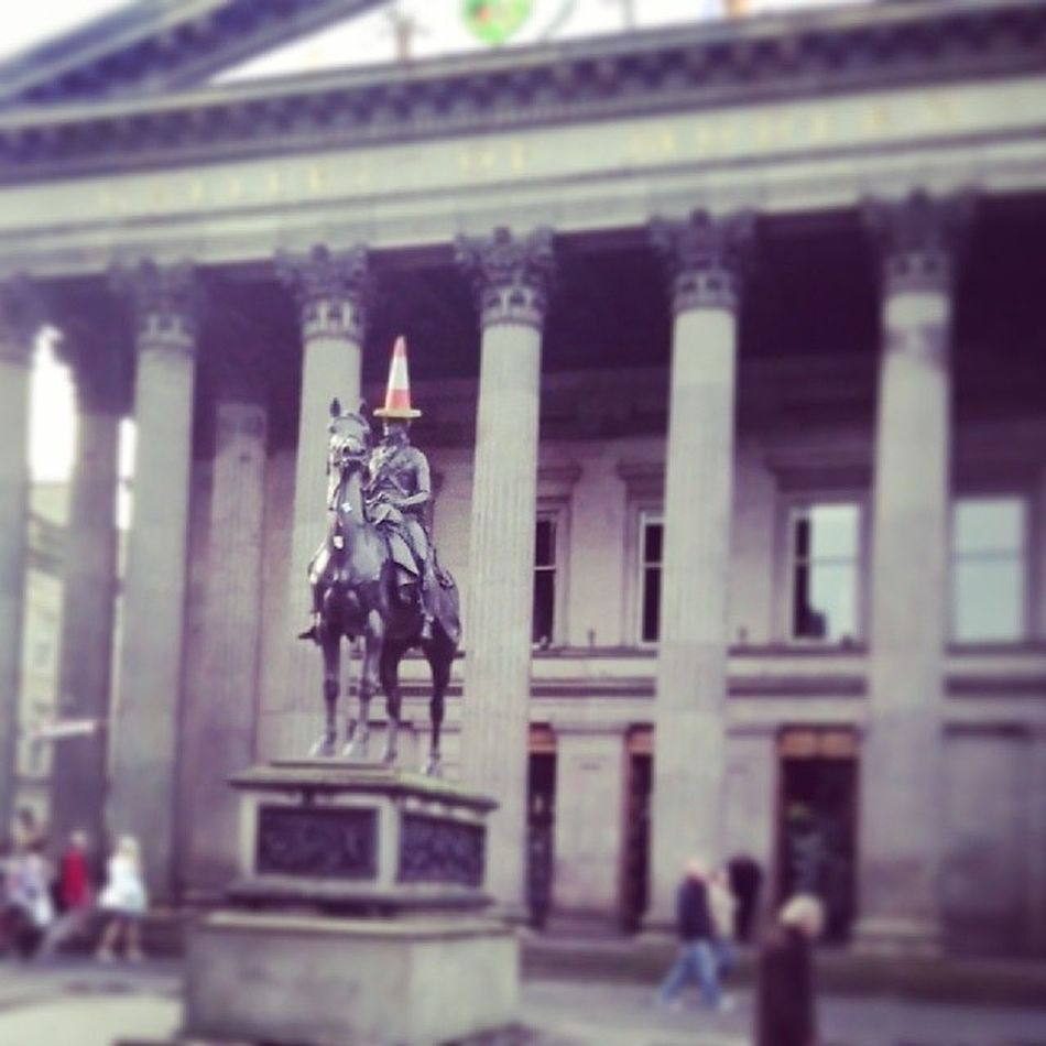 Duke Of Wellington Statue Sculpture Monument Architecture Equestrian Iconic Royal Exchange Square Glasgow  Scotland Scottish Life Traffic Cone Red_And_White Hat Vandalism Humor Rebellious Blurred History Art Keep The Cone Travel Scotland