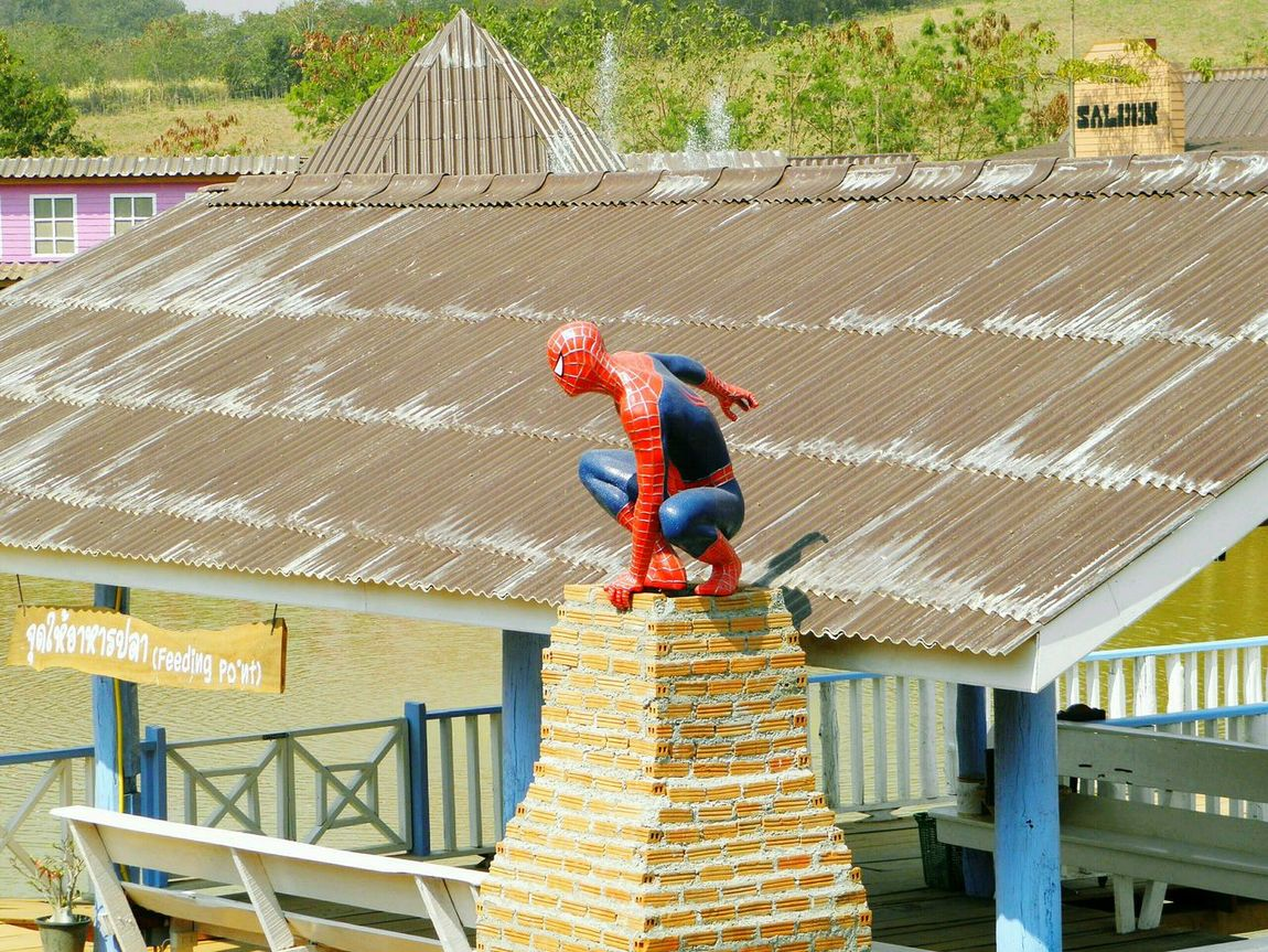 Spiderman. Khao Yai. Nakhonratchasima province. TH. Focus On Foreground Travel High Angle View Landscape No People Day Outdoors Park - Man Made Space Close-up Multi Colored Sky Scenics Beuatiful Nature Beuatifulplace Travelling Thailand Travel Destinations Spiderman Statues/sculptures Statue Full Length Green Color Tree Springtime Beauty In Nature High Angel View