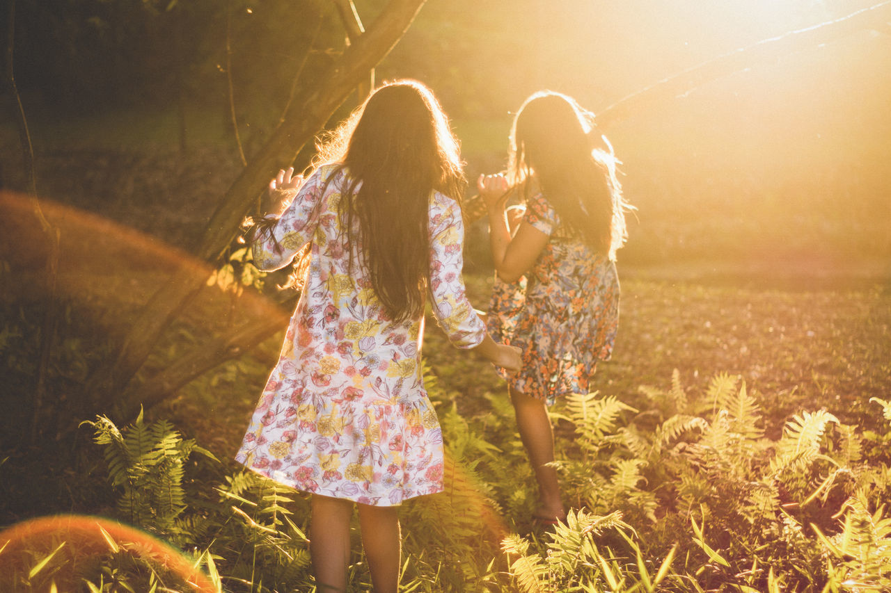 Nieces Fun Outdoors Happiness Nature Togetherness Childhood Children Golden Hour Sunset Sunlight People Illuminated Motion Sonyalpha