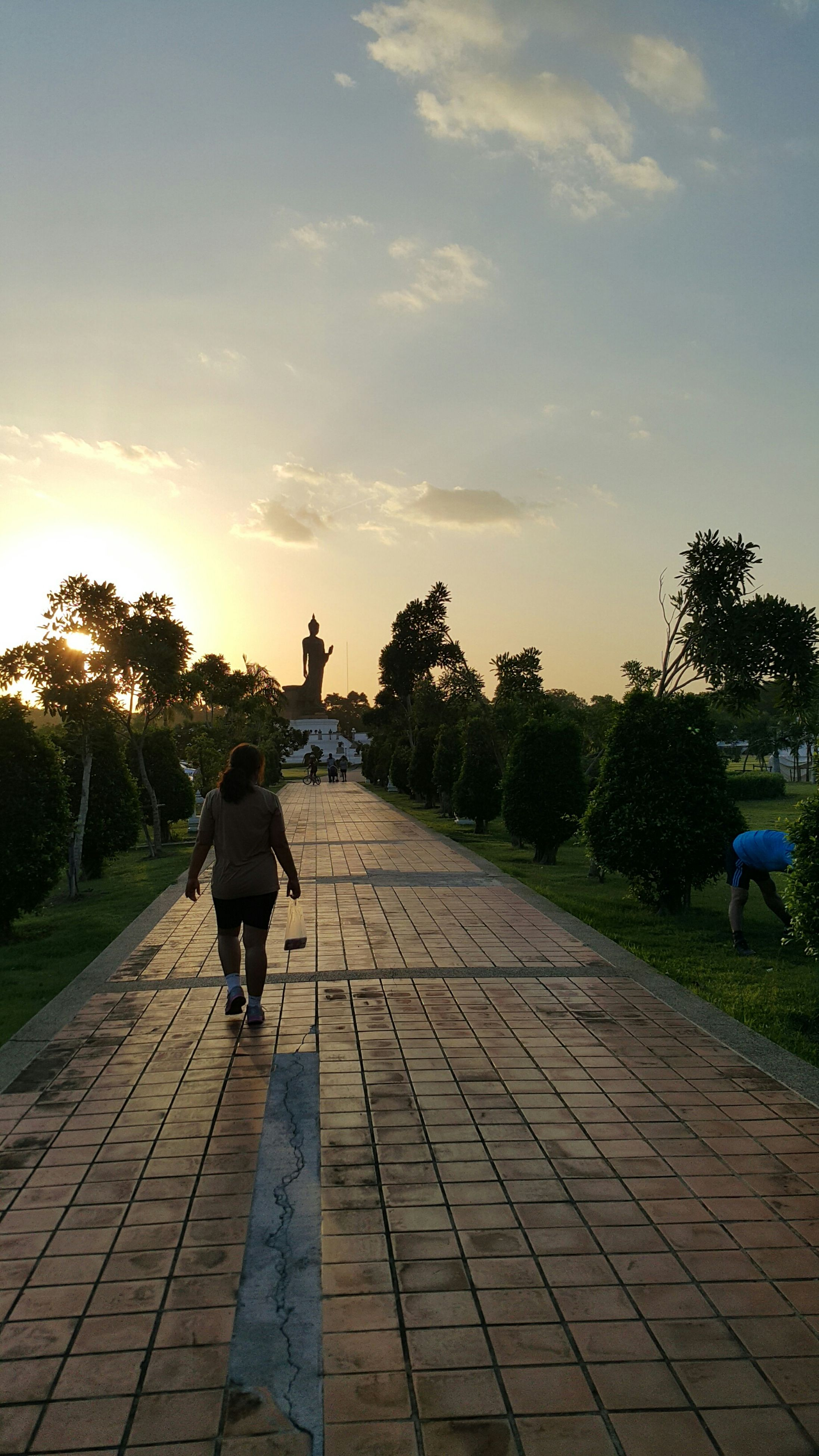 rear view, lifestyles, full length, walking, leisure activity, sky, the way forward, tree, person, men, silhouette, footpath, cobblestone, sunlight, standing, casual clothing, outdoors, sunset