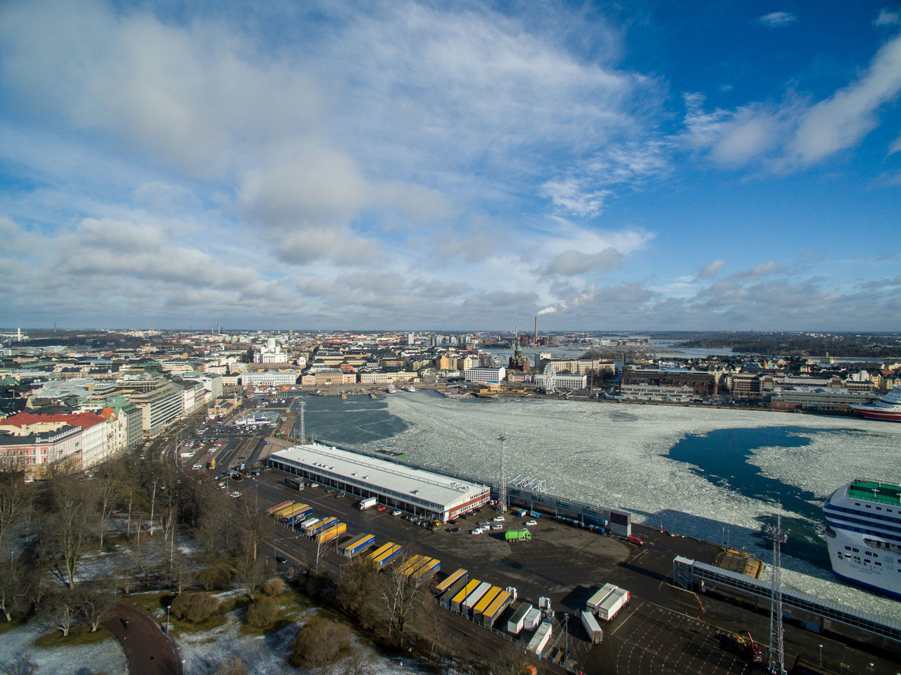 Aerial Shot Aerial View Architecture Building Exterior Built Structure City City Life Cityscape Cloud - Sky Day Downtown District Drone  Finland Helsinki High Angle View Modern No People Outdoors Sky Skyscraper Travel Destinations Urban Skyline