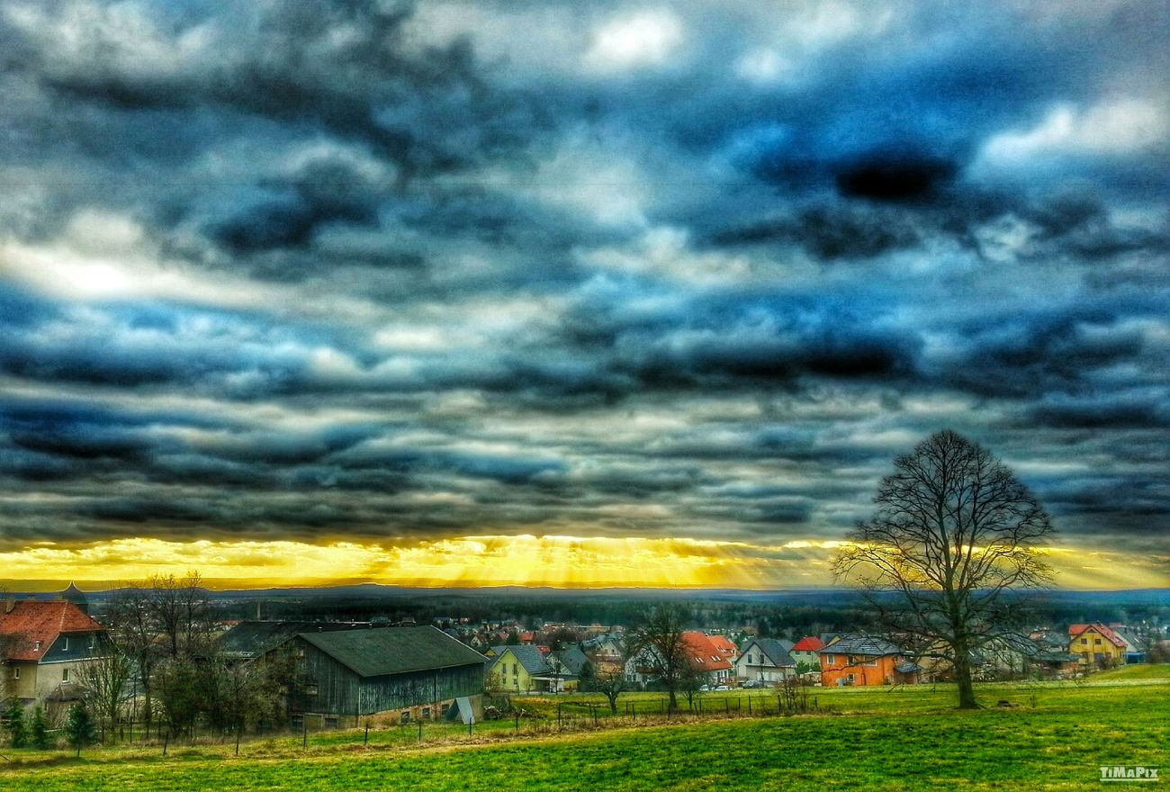 HDR Sun And Clouds Beautiful Saxony