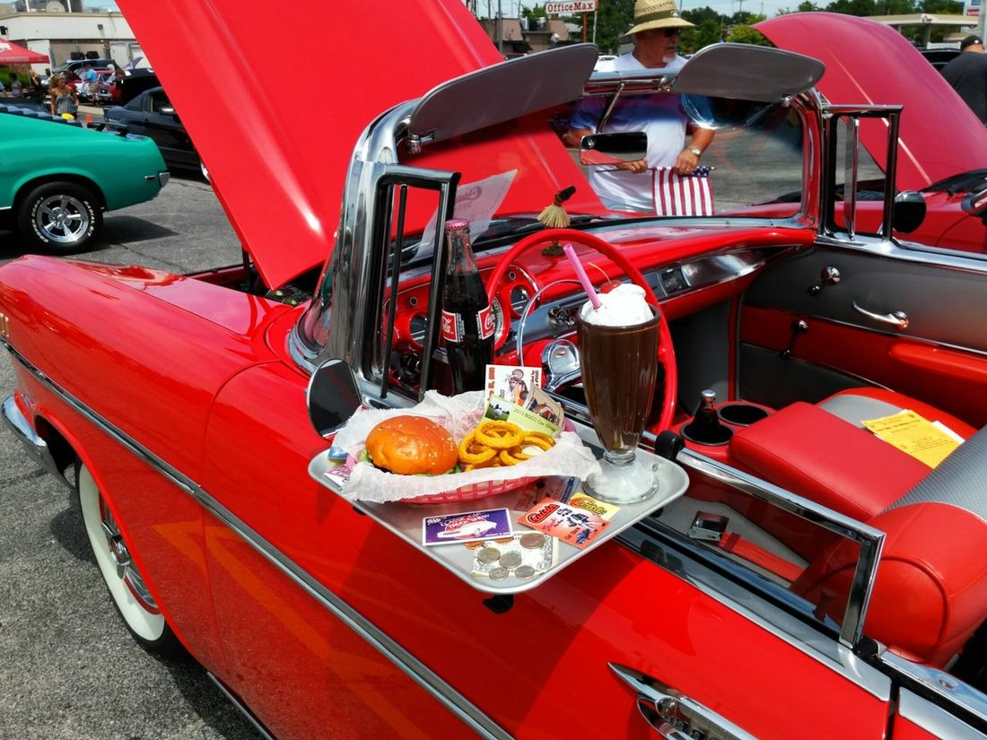 Car Chevy Bel Air Chevy Convertible Food Drive-in Tray Burger Shake French Fries