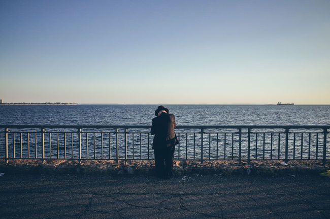 The world seen from behind Alone Backhead Behind Escapism Hat Horizon Horizon Over Water New York City Ocean Outdoors Prayer Rear View Sea Seascape The World Seen From Behind Water