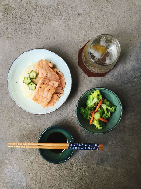 today's dinner. Dinner Dinner Time Food Foodporn Foodphotography Salmon Sashimi Okra Plum Wine Plum Ice Icedrink Drinking Icewine EyeEmbestshots (null) Taking Photos Enjoying Life Eye4photography  Capture The Moment From My Point Of View EyeEm Gallery Beauty In Ordinary Things Daily Life Summer Handmade