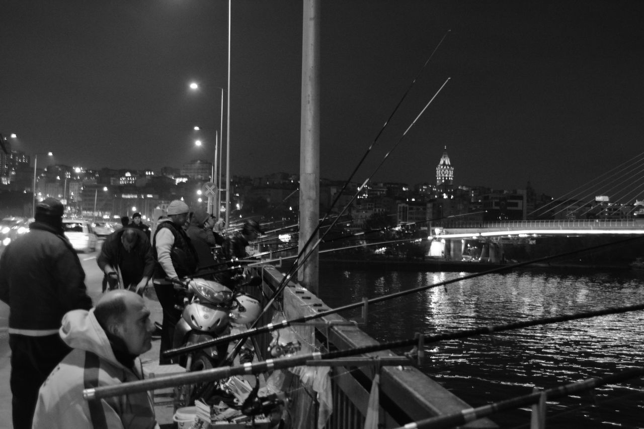 Istanbul People Together Fishing Nautical Vessel People Night Light And Shadow On The Street 2016 EyeEm Awards Yacht Sea Journey Reflection Water Travel Destinations Boats Cityscape Galata Bridge City Street Outdoors Night Vision Pictures Tell A Story Real People Night Walk My Gallery