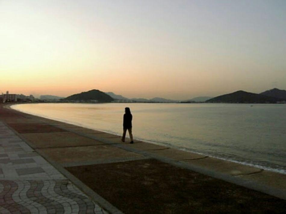 Walking along Imajuku Bay at Sunset Cellphone Photography 2005