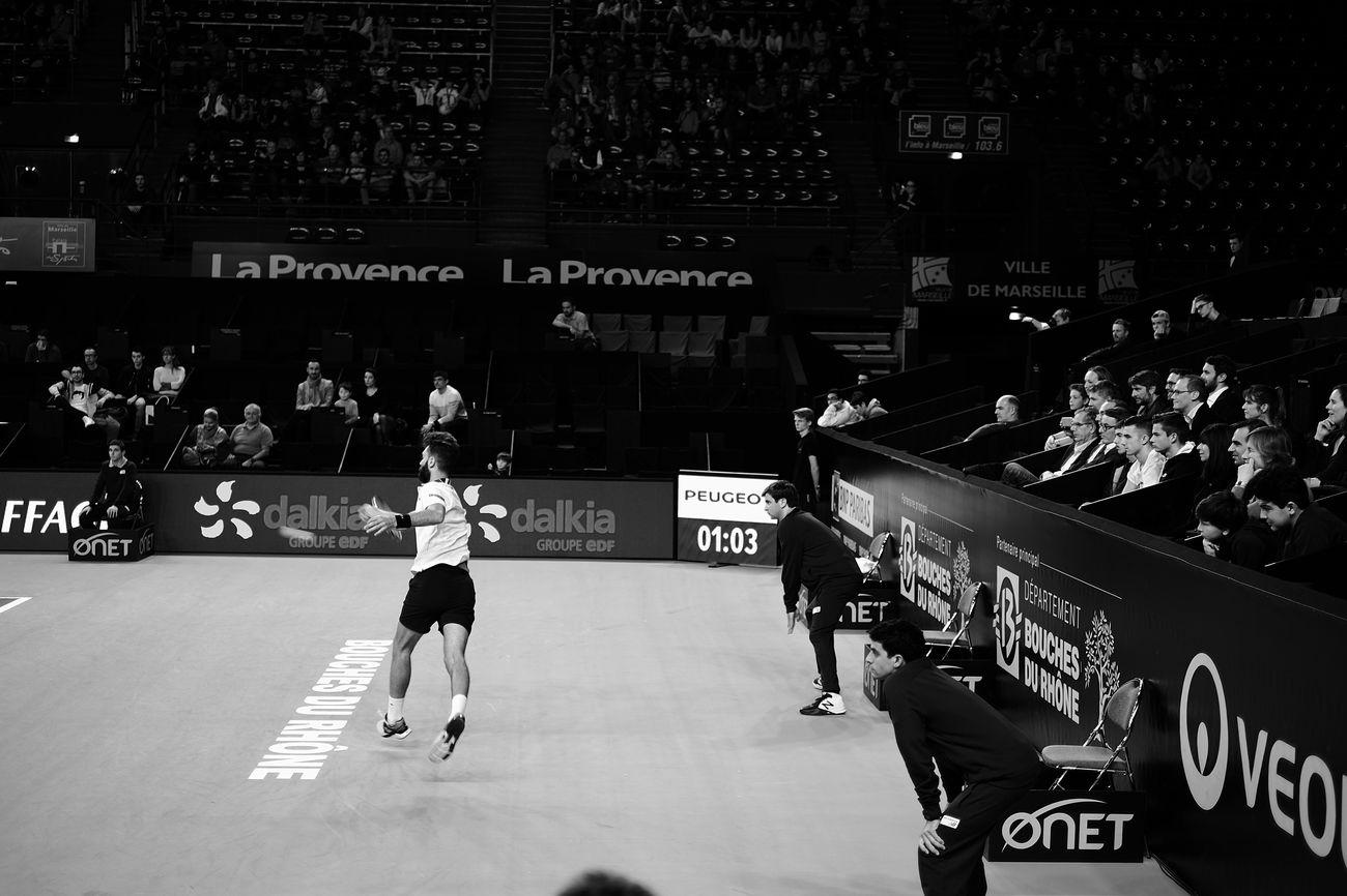 Paire's Forehand Men Sport One Person People Crowd Athlete Tennis 🎾 Fujifilm X-E2 Monochrome Black And White Blackandwhite Fujifilm_xseries Match - Sport Adult Stadium Athlete Sportsman Competition